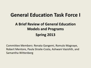 General Education Task Force I
