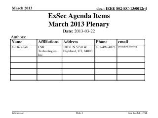 ExSec Agenda Items March 2013 Plenary