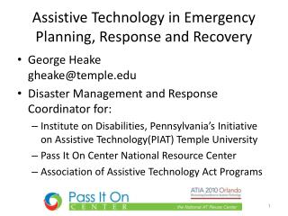 Assistive Technology in Emergency Planning, Response and Recovery