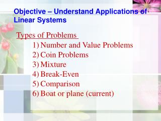 Objective – Understand Applications of Linear Systems