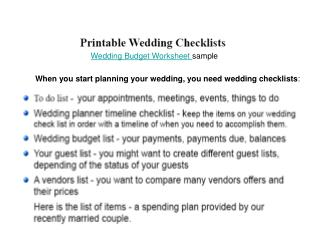 Printable Wedding Checklists - Budget list