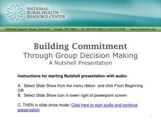 Building Commitment Through Group Decision  Making A Nutshell Presentation