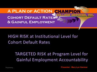 HIGH RISK at Institutional Level for Cohort Default Rates TARGETED RISK at Program Level for Gainful Employment Account