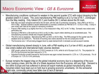 Macro Economic View :  G5 & Eurozone