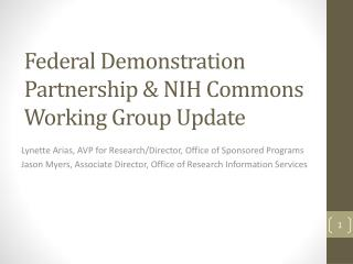 Federal Demonstration Partnership & NIH Commons Working Group Update