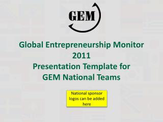 Global  Entrepreneurship  Monitor 2011  Presentation Template for GEM  National Teams
