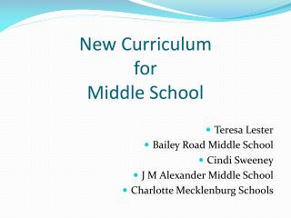 New Curriculum  for  Middle School