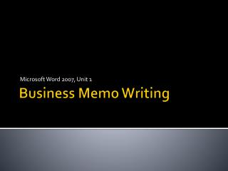 Business Memo Writing