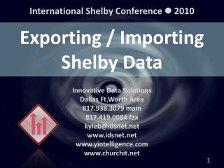 Exporting / Importing Shelby Data