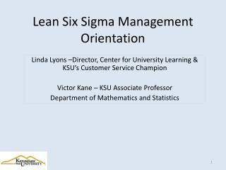 Lean Six Sigma Management Orientation