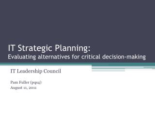 IT Strategic Planning: Evaluating alternatives for critical decision-making