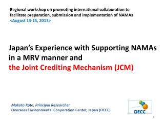 Japan's Experience with Supporting NAMAs in a MRV manner and  the Joint Crediting Mechanism (JCM)