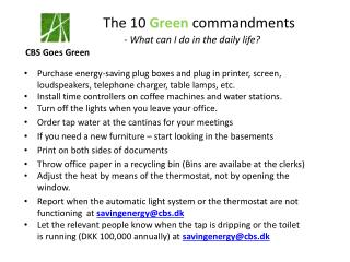 The 1 0  Green commandments -  What can  I do in the  daily life ?