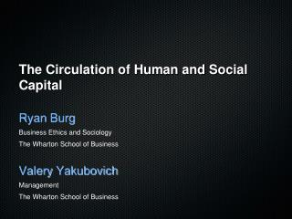 The Circulation of Human and Social Capital