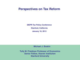 Perspectives on Tax Reform