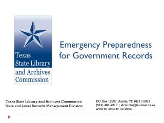 Emergency Preparedness for Government Records