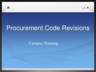 Procurement Code Revisions
