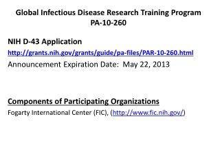 Global Infectious Disease Research Training  Program PA-10-260