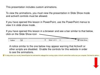 This presentation includes custom animations.   To view the animations, you must view the presentation in Slide Show mo