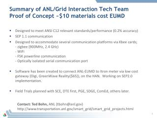 Summary of ANL/Grid Interaction Tech Team Proof of Concept ~$10 materials cost EUMD
