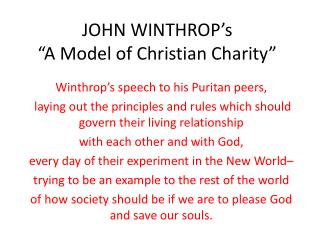 "JOHN WINTHROP's ""A Model of Christian Charity"""