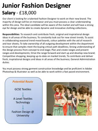Potential Route GCSE Textiles A Level Textiles Technology Fashion Design @ University