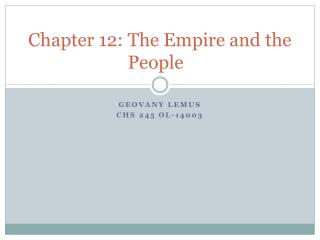 Chapter 12: The Empire and the People