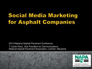 Social Media Marketing  for Asphalt Companies