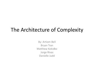 The Architecture of Complexity