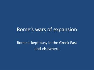 Rome's wars  of expansion
