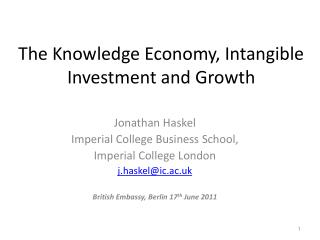 The Knowledge Economy, Intangible Investment and Growth