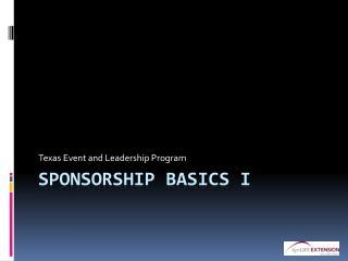Sponsorship Basics I