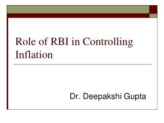 Role of RBI in Controlling Inflation