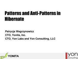 Patterns and Anti-Patterns in Hibernate