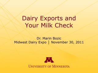 Dairy Exports and Your Milk Check