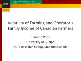 Volatility of Farming and Operator's Family Income of Canadian Farmers
