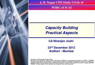 Capacity Building Practical Aspects