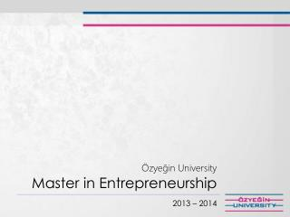 Özyeğin  University Master in  Entrepreneurship