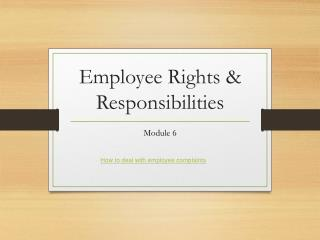Employee Rights & Responsibilities