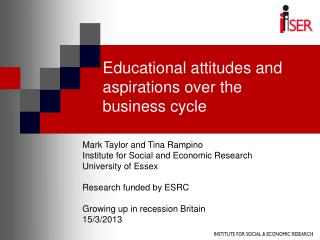 Educational attitudes and aspirations over the business cycle