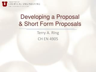 Developing a Proposal & Short Form Proposals