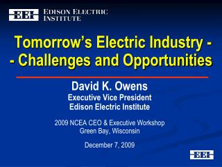Tomorrow's Electric Industry -- Challenges and Opportunities