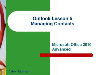 Outlook  Lesson  5 Managing Contacts