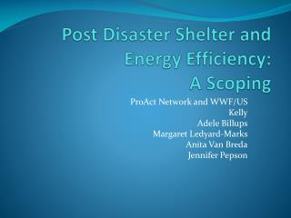 Post Disaster Shelter and Energy Efficiency:  A Scoping