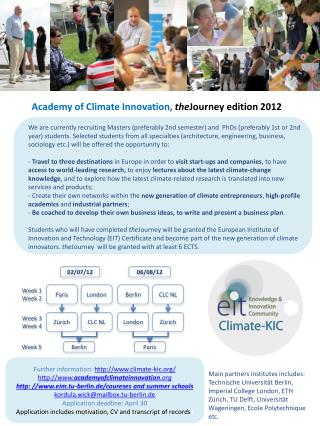 Academy of Climate  Innovation, the Journey  edition 2012