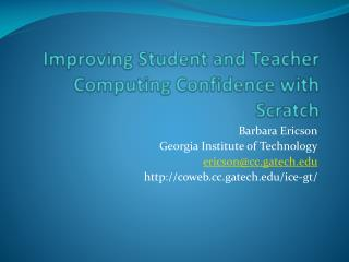 Improving Student and Teacher Computing Confidence with Scratch