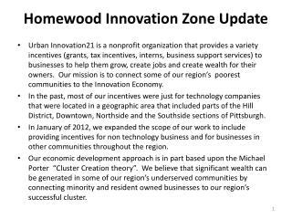 Homewood Innovation Zone Update