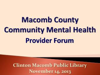 Macomb County Community Mental Health