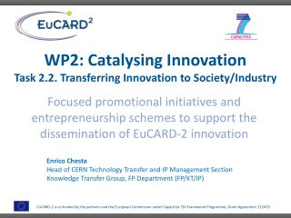 WP2: Catalysing Innovation Task 2.2. Transferring Innovation to  Society/Industry