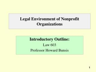 Legal Environment of Nonprofit Organizations